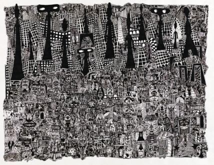 Jean-Pierre Nadau, Untitled, 2002, muste paperille, Korine ja Max E. Ammannin kokoelma. Kuva: Kunstmuseum Thurgau / Ittinger Museum.