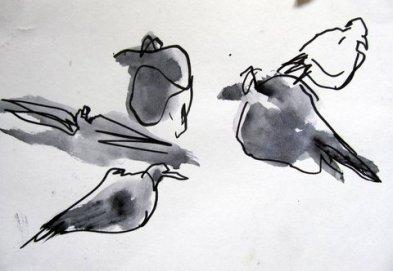 Anja Ikonen: Hämeenpuiston linnut I (2010).  Kuva: AvaraTaide.